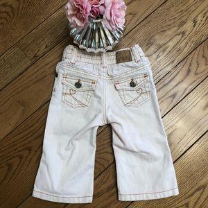 Flare Jeans beige w Pink stitch elastic bk waist